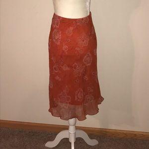Orange Sheer Mid length Skirt
