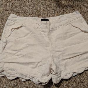 Scalloped Edge White Comfy Shorts