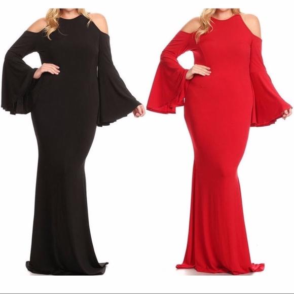 e8080a0c8475 Dresses | Plus Cold Shoulder Bell Sleeve Mermaid Maxi Dress | Poshmark