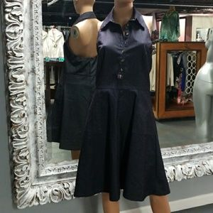 🌻ISAAC MIZRAHI Denim Open Back Halter Dress
