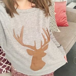 Tops - **SOLD** Long sleeve tee w/ faux leather deer