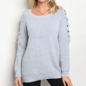 Sweaters - 🎁HEATHER GRAY LACE UP SLEEVE SWEATER