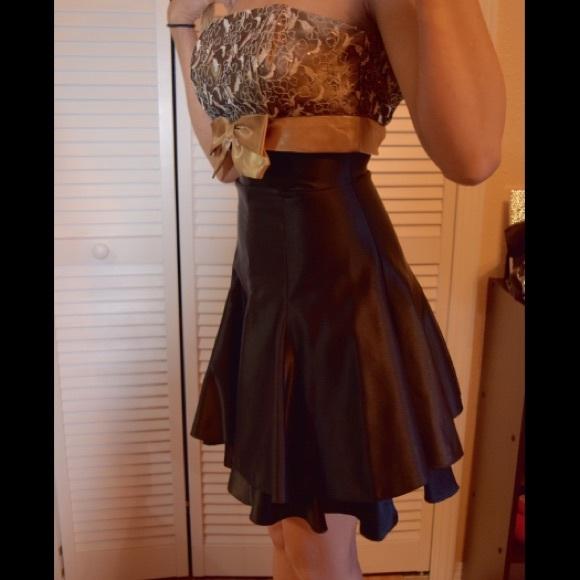 Jessica Mcclintock Dresses Glamorous Gold Sparkle Lace Prom Dress
