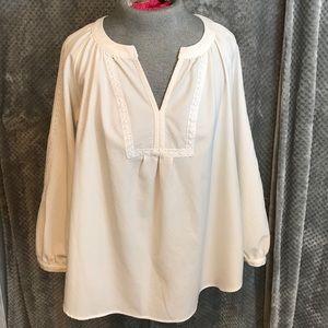 Nicole Miller white blouse. Lace details