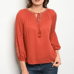 Tops - 🎁HERE🎁RUST EMBROIDERED TOP