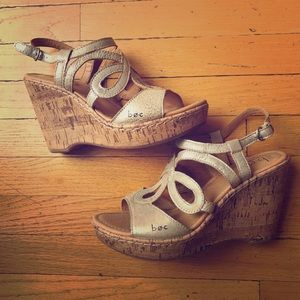 Shoes - BOC brand silver wedge sandals