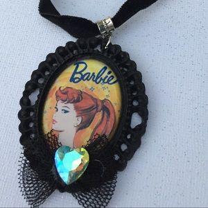 Retro Barbie cameo  choker necklace black velvet