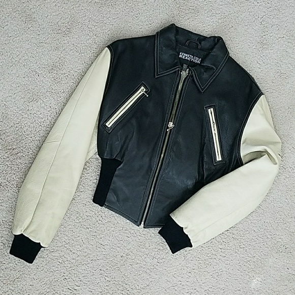 Kenneth Cole Fitted Leather Varsity Bomber Jacket
