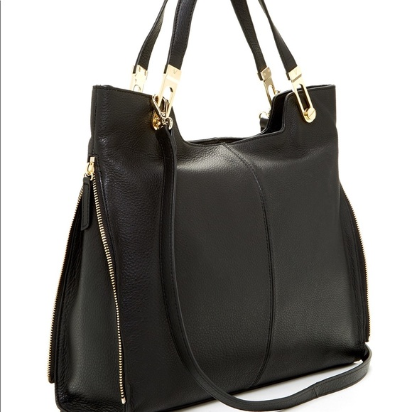 NWT Vince Camuto Black Jax Leather Tote