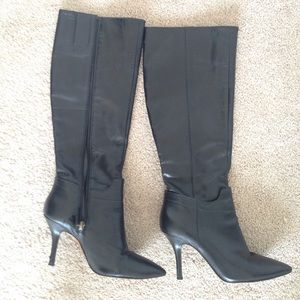 Nine West black leather boots size 7 1/2