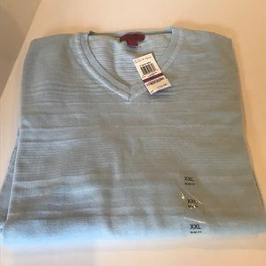 NWT$72 ALFANI PowderBlue V NECK Cotton Sweater XXL