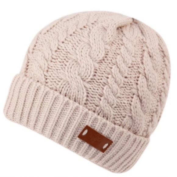 c9e77f6b5af Natural Tan Chunky Knit Sherpa Lining Beanie Hat