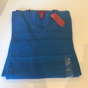 NWT$72 ALFANI  Blue V NECK Cotton Sweater L