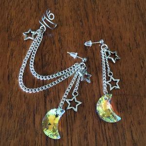 Swarovski Moon Stars Ear Cuff Earrings Set