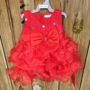 Red formal dress for baby