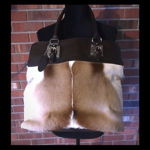  Wilson Leather Soft Brown/White Cow Hide Purse