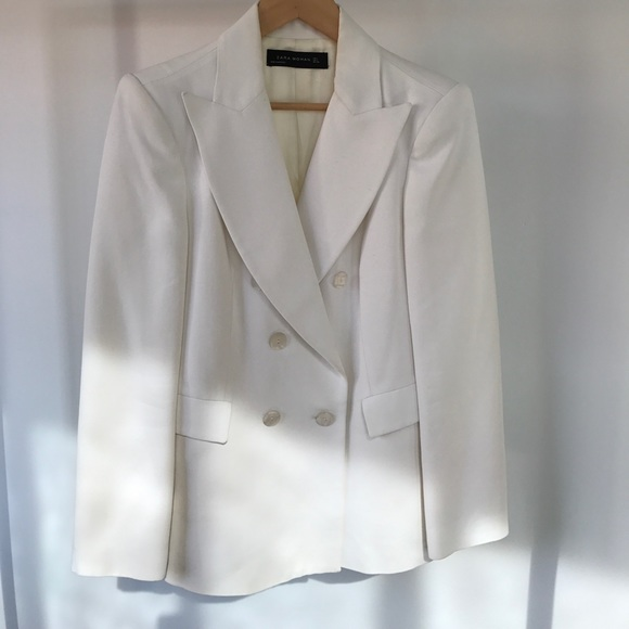 119069ae ZARA white/cream double breasted blazer