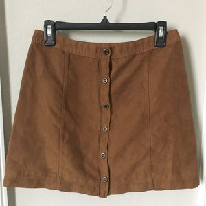 Brown Suede Hollister A-line Button-Up Skirt Size5