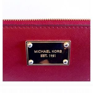 Michael Kors Red Leather Wristlet Or Wallet