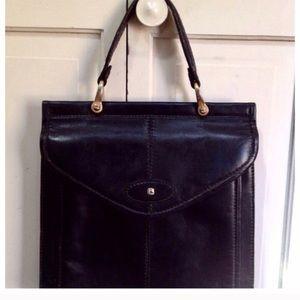 Vintage Italian Black Leather Handbag, Gorgeous