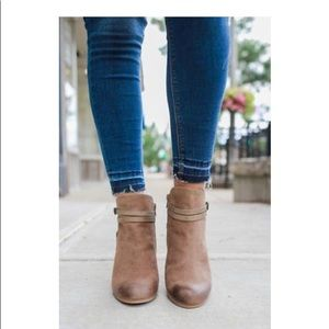 Shoes - Taupe Belt Wrapped Accent Ankle Bootie