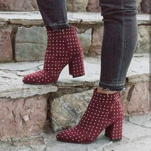 🆕//The Ruby// Burgundy studded bootie