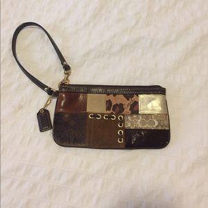 Coach wristlet - leather, canvas, leopard