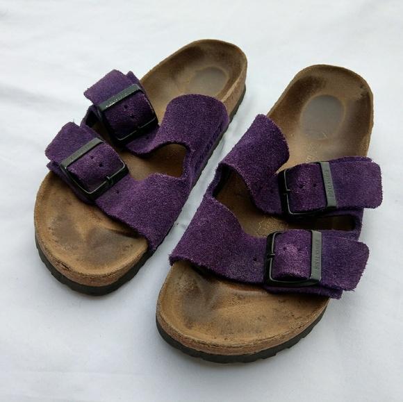 3de916ef5fb8 Birkenstock Shoes - Birkenstock Arizona Purple Suede Leather Sandals
