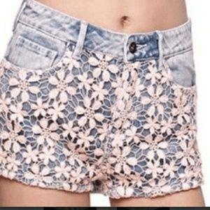 Roxy High waisted lace overlay shorts