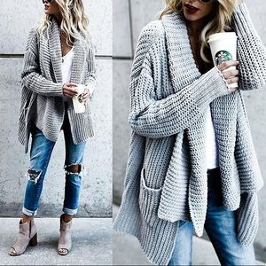 Charlie Gray Slouchy Oversized Long Cardigan