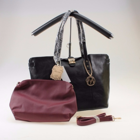 Black Vegan Leather Tote   Burgundy Crossbody Bag c78f95551c278