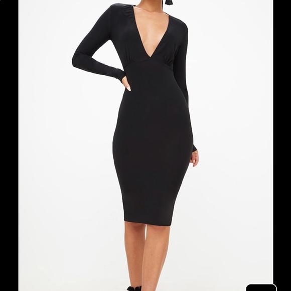 Black Long Sleeve Plunge Slinky Midi Dress. M 59fce0595c12f89ab7051930 12653900a