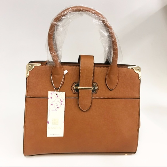 9cda7b178a Brown Faux Leather Tote Bag w  Crossbody Strap