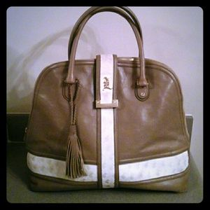 L.A.M.B. Leather Taupe Oversized Satchel/Dustbag