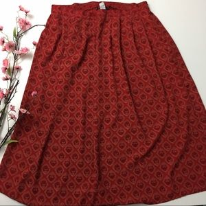 Red & Maroon Print Maxi Skirt