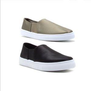 Shoes - •FINAL PRICE SALE• Khaki Satin Slip Ons