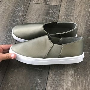 Shoes - Khaki Satin Slip Ons