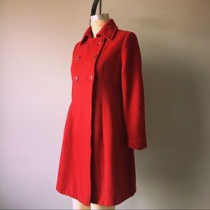 Vintage Jackets   Coats - Vintage 100% Wool Red Doble Breasted Mid Coat 580229138