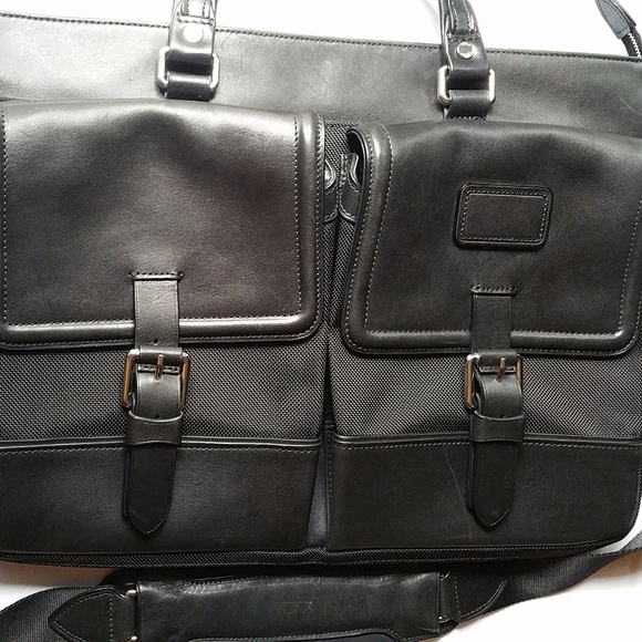 TUMI Bags   Leather Commuter Brief With Fabric Accent   Poshmark c7d0f52a15