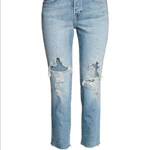 H&M High Slim CROPPED holey jeans