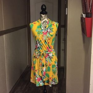 New York & Co Tropical Belted Romper