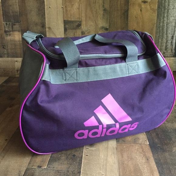 adidas Handbags - Adidas Diablo Small Duffel Gym Bag Purple   Gray 43fd0e1b32001