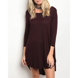 | PLUM HI-LO TUNIC DRESS |