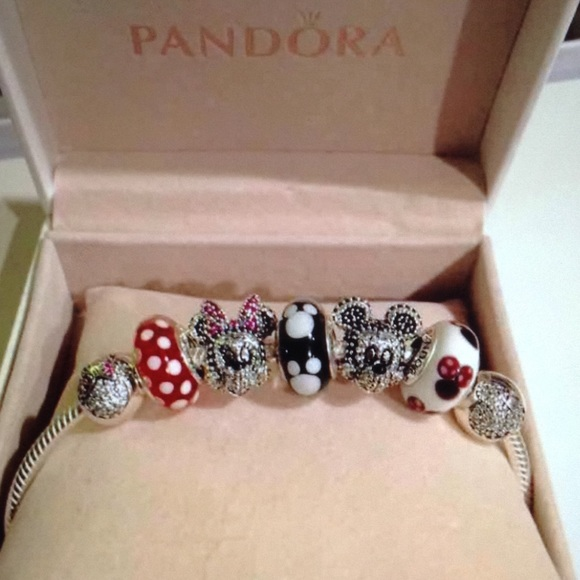 967f90b18 Jewelry | Pandora Disney Mickey Minnie Bracelet Set 5 Charms | Poshmark