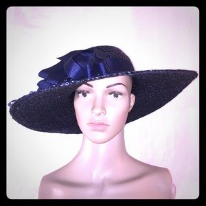 Vintage Navy Blue sun Hat with polka dot bow
