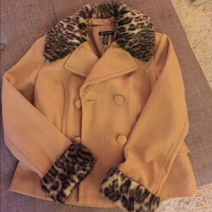 INC Pea Coat Faux Fur Collar and Sleeves Size L