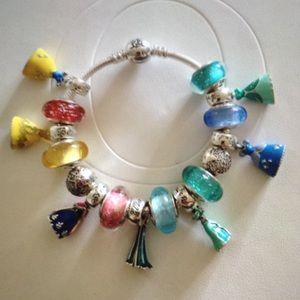 Disney Pandora Princess Bracelet & 18 Charms Set