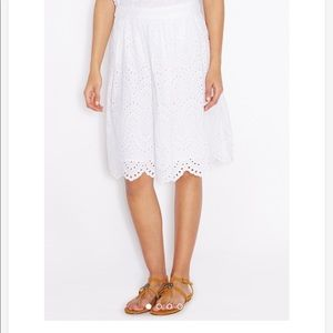 Mango white eyelet skirt