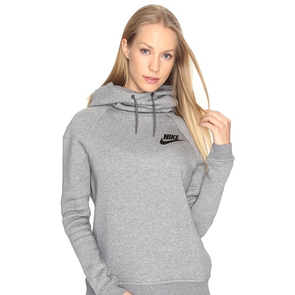 Grey Nike Logo Cowl Neck Hoodie