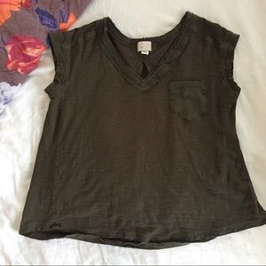 Anthropologie Tops - Anthropologie Green V-Neck Tee